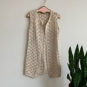 VTG 70's Cream Crocheted Long Hippie Vest